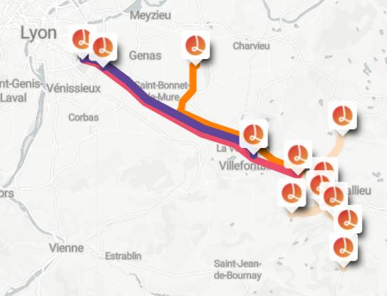 La cartographie des lignes de covoiturage sans réservation Lane
